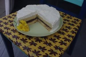 Chocolate truffle marzipan cream cake